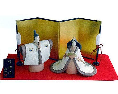 ひな人形 信楽焼 蘭 親王飾り芽生えセット 人形雛
