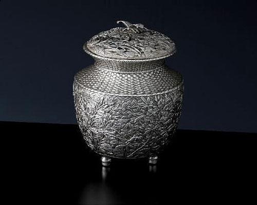 銀製 香炉 七草 青鳳