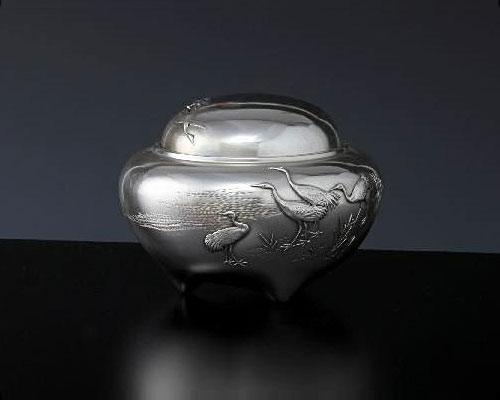 銀製 香炉 寿型鶴文様 津雪