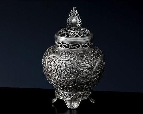 銀製 香炉 火焔宝珠 青鳳