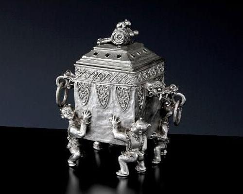 銀製 香炉 唐子 元威