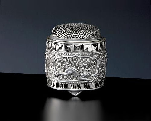 銀製 香炉 唐獅子 安弘