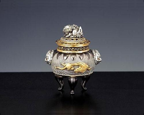 銀製 香炉 獅子龍 釘谷洞石