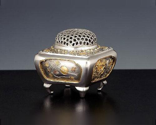 銀製 香炉 角型四季 青鳳