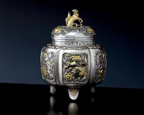銀製 香炉 六稜瑞鳥紋 昭生