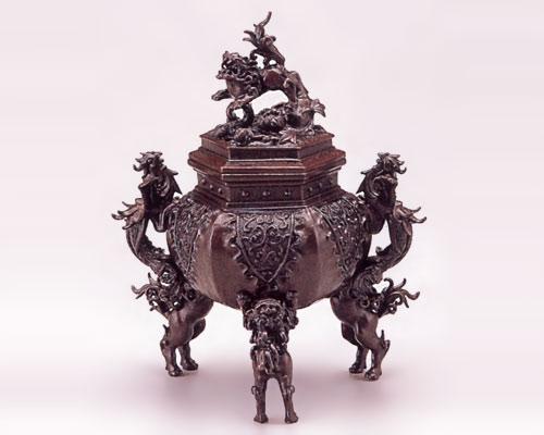 高岡銅器 銅製 香炉 六角牡丹獅子 二上元威