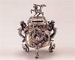 高岡銅器 白銅製 香炉 麟龍 大 二上元威