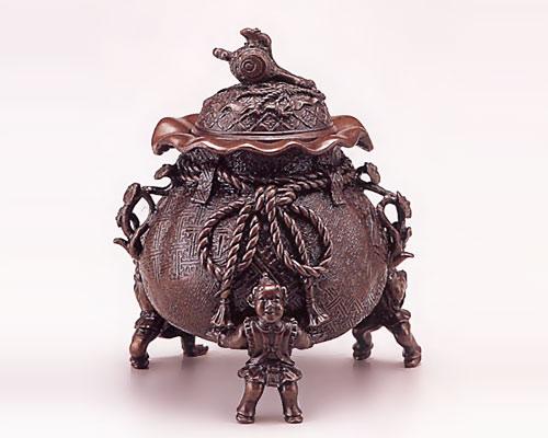 高岡銅器 銅製 香炉 茶袋 大 二上元威