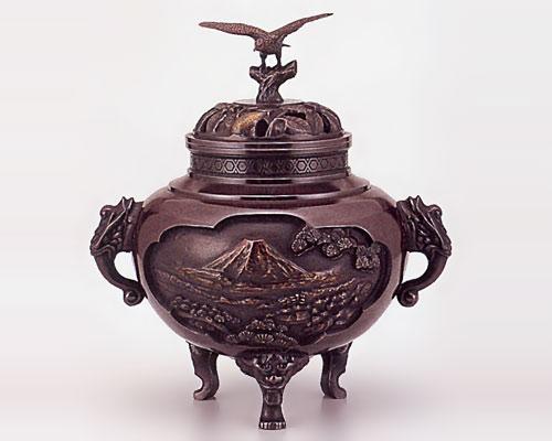 高岡銅器 銅製 香炉 壱不二弐鷹参茄子