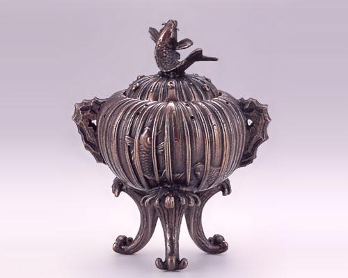 高岡銅器 銅製 香炉 鯉の滝登り香炉