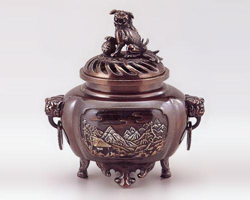 高岡銅器 銅製 香炉 木瓜型 山水
