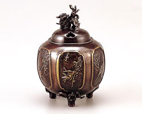 高岡銅器 銅製 香炉 小判型七福神 恵比須大黒蓋