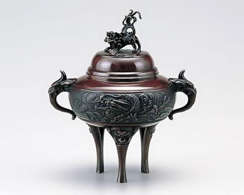 高岡銅器 銅製 香炉 龍地紋 小