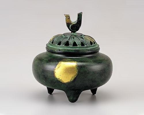 高岡銅器 銅製 香炉 珠玉型 緑金色