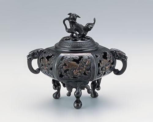 高岡銅器 銅製 香炉 瓢丹足透し 古手色