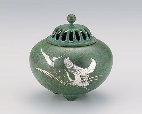 高岡銅器 銅製 香炉 彫金 平丸 波ツル