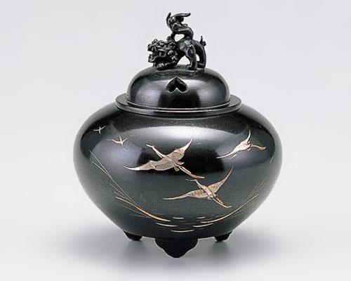 高岡銅器 銅製 香炉 彫金 平丸獅子蓋 鶴 小