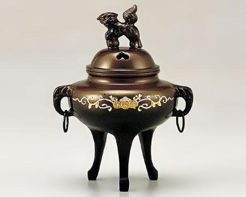高岡銅器 銅製 香炉 彫金 かん付象眼
