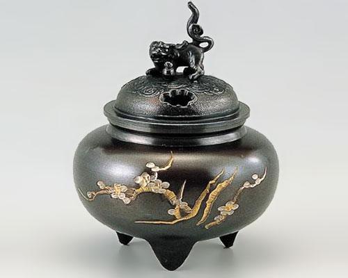 高岡銅器 銅製 香炉 彫金 鉄鉢型獅子蓋 古手色
