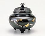 高岡銅器 銅製 香炉 彫金 鉄鉢型四海波蓋 古手色