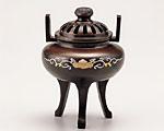 高岡銅器 銅製 香炉 彫金 菊蓋象眼 大