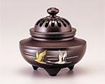 高岡銅器 銅製 香炉 彫金 玉利久 双鶴