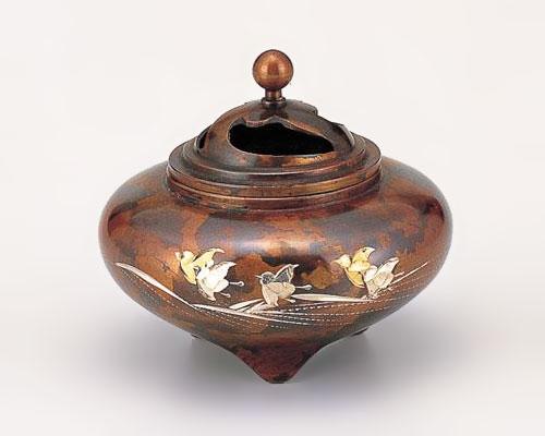 高岡銅器 銅製 香炉 彫金 平型 波千鳥
