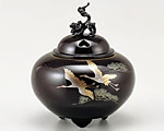 高岡銅器 銅製 香炉 彫金 平丸獅子蓋 双鶴