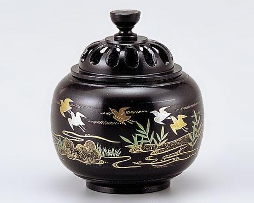 高岡銅器 銅製 香炉 玉胴型 波千鳥