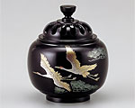 高岡銅器 銅製 香炉 玉胴型 双鶴