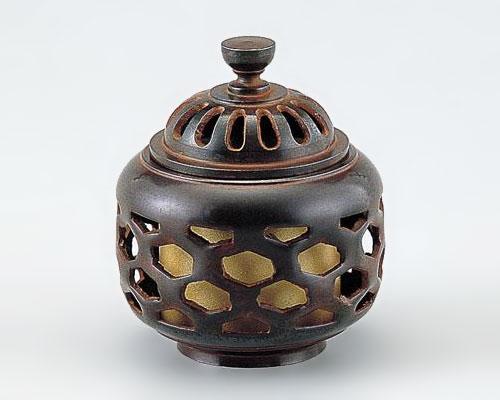 高岡銅器 銅製 香炉 亀甲透 古手色