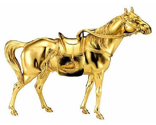高岡銅器 干支置物 午 将軍の駿馬 本金箔仕上げ 大峰作 蝋型青銅製