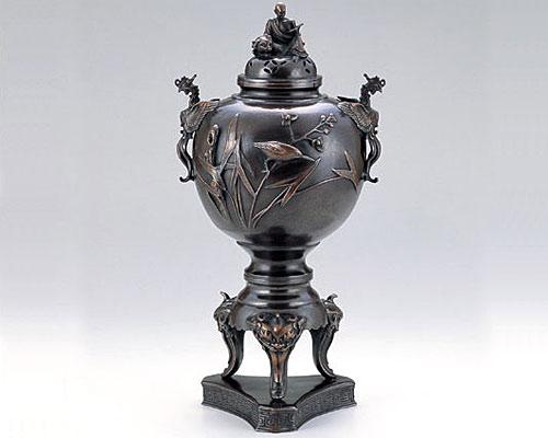 高岡銅器 銅製 香炉 獅子足川蝉羅漢蓋