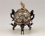 高岡銅器 銅製 香炉 玉孔雀 漆びきメッキ