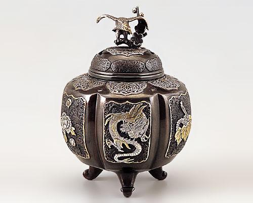 高岡銅器 銅製 香炉 六面吉祥地紋 漆びきメッキ