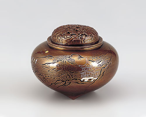 高岡銅器 銅製 香炉 平型楼閣山水 山吹色