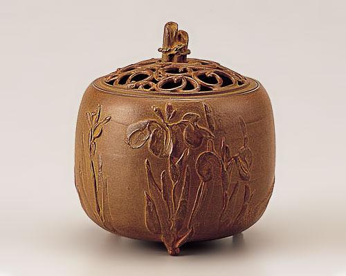 高岡銅器 銅製 香炉 杜若文 青銅色