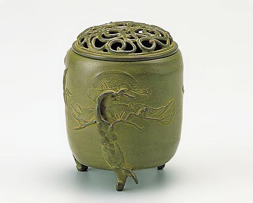 高岡銅器 銅製 香炉 三友文 中 青銅色