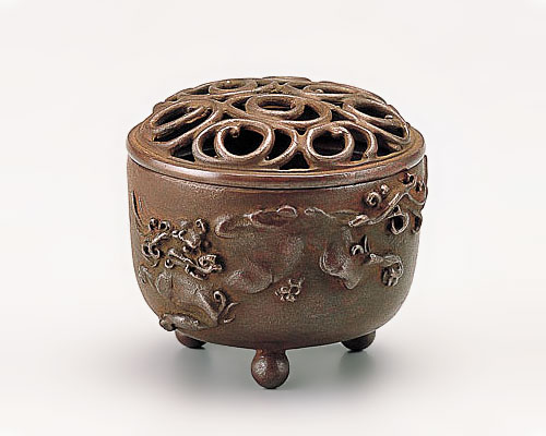 高岡銅器 銅製 香炉 獅子文 焼朱銅色