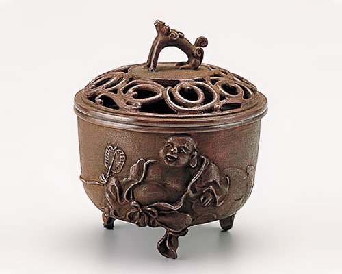 高岡銅器 銅製 香炉 布袋文 焼朱銅色