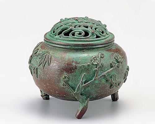 高岡銅器 銅製 香炉 玉形三友文 焼青銅色