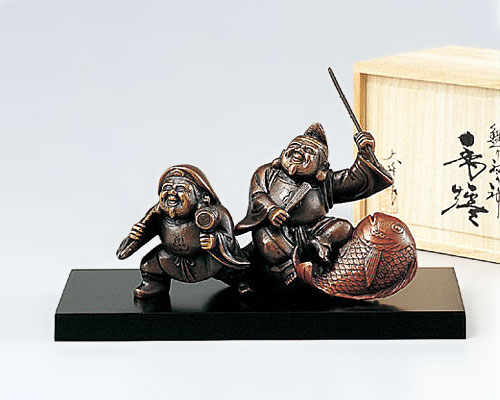 高岡銅器 銅製 香炉 鯛つり福の神