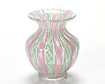 バラリン スモールベース(花瓶) 9cm #019 ピンク×グリーンレース