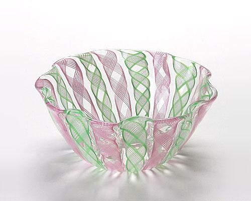 ベネチアガラス バラリン レース柄ボウル 14cm ピンク×グリーン