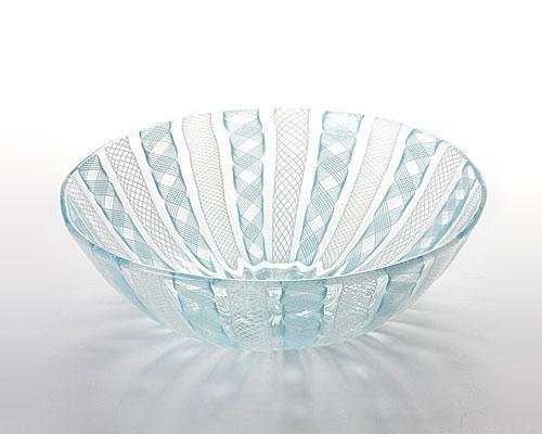 ベネチアガラス バラリン ボウル 17cm ターコイズ×ホワイト
