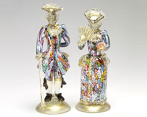 ベネチアガラス バラリン ペアフィギュリン 筒型 モザイク多彩