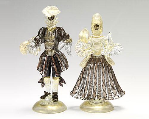 ベネチアガラス バラリン ペアフィギュリン マスク ブラック×ゴールド