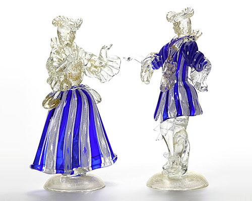 ベネチアガラス バラリン ペアフィギュリン コバルト×ホワイト