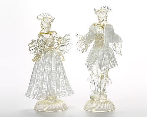 ベネチアガラス バラリン ペアフィギュリン ホワイト