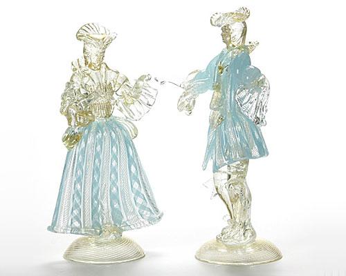 ベネチアガラス バラリン ペアフィギュリン ターコイズ×ホワイト